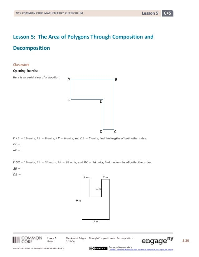Lesson 5: The Area of Polygons Through Composition and Decomposition Date: 5/28/14 S.20 20 © 2014 Common Core, Inc. Some r...