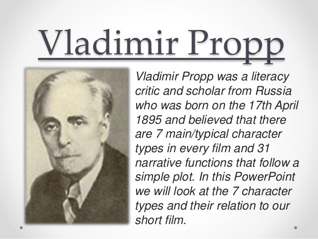 vladimir propp The preparation of this second english edition of vladimir propp's  morphology of the folktale had two major objectives the first was to make some .