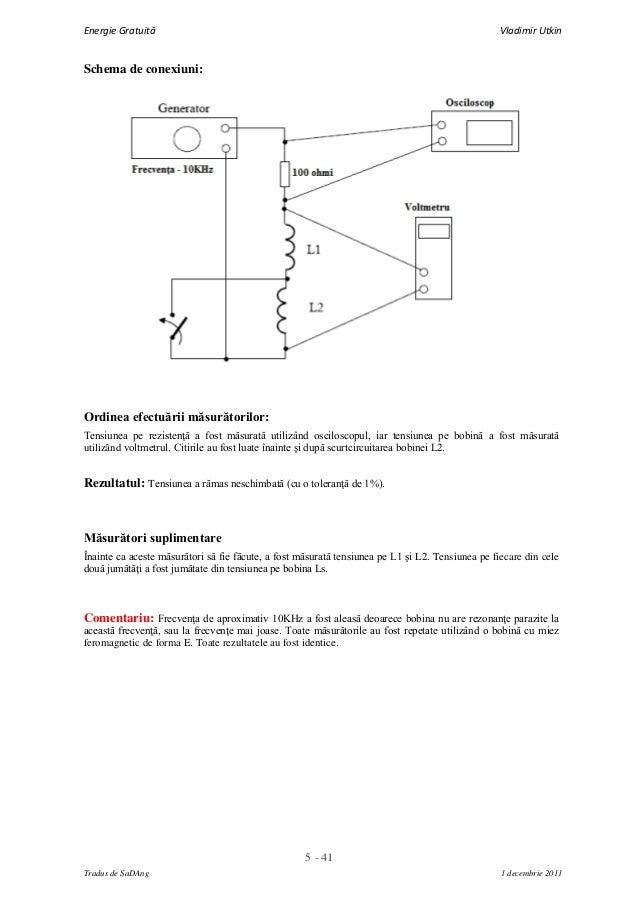 5 - 41Energie Gratuită Vladimir UtkinTradus de SaDAng 1 decembrie 2011Schema de conexiuni:Ordinea efectuării măsurătorilor...