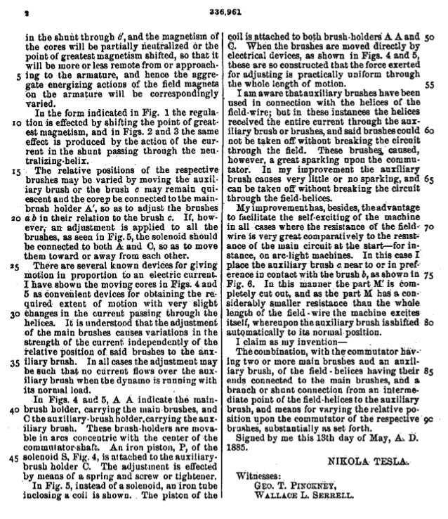 466 INVENTIONS OF NIKOLA TESLA.manner of pulleys, and are connected together by flexible con-ducting bands or belts.The ma...