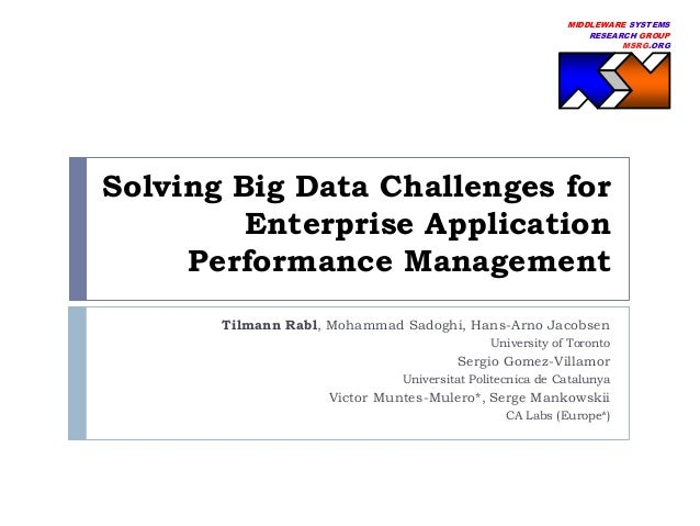 MIDDLEWARE SYSTEMS RESEARCH GROUP MSRG.ORG  Solving Big Data Challenges for Enterprise Application Performance Management ...