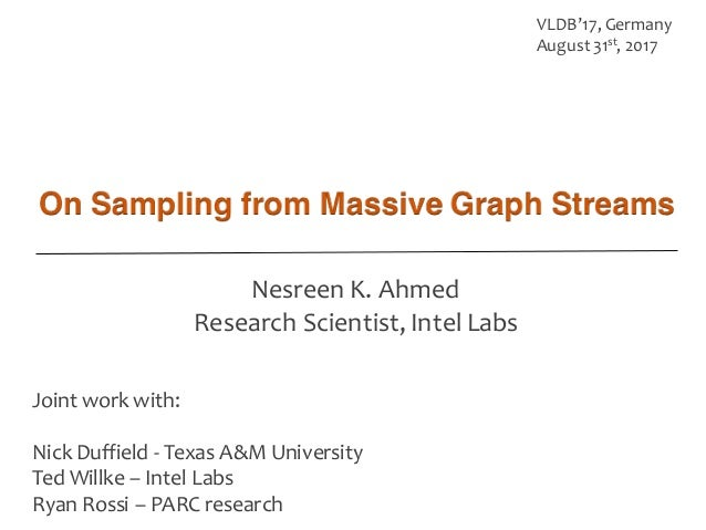 Joint work with: Nick Duffield -‐ Texas A&M University Ted Willke – Intel Labs Ryan Rossi – PARC research VLDB...