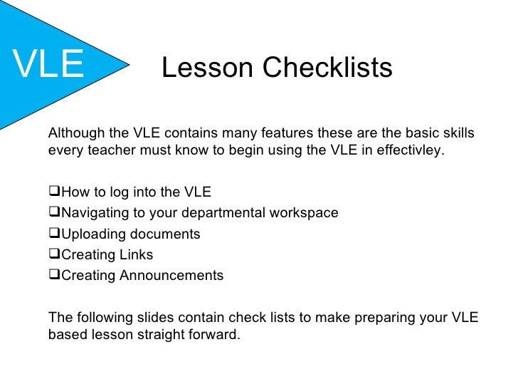 VLE - Lesson Check Lists Part 1