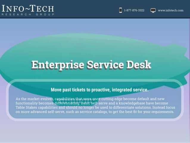 Vendor Landscape: Enterprise Service Desk Move past tickets to proactive, integrated service As the market evolves, capabi...