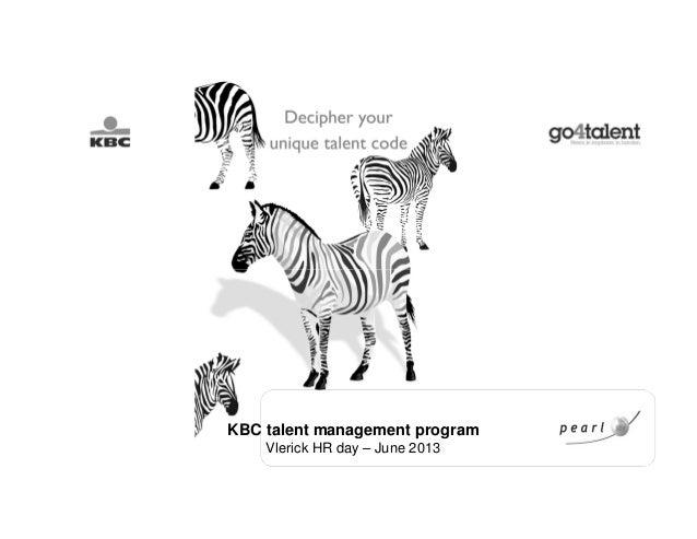 KBC talent management programVlerick HR day – June 2013