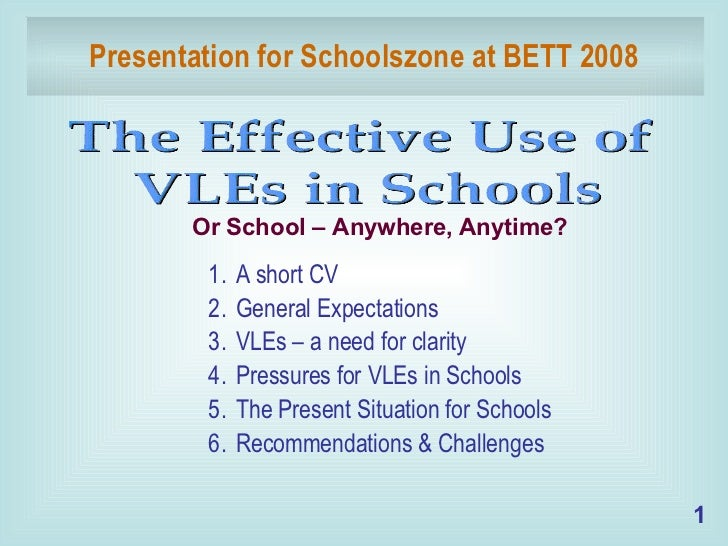 Presentation for Schoolszone at BETT 2008 <ul><li>A short CV </li></ul><ul><li>General Expectations </li></ul><ul><li>VLEs...