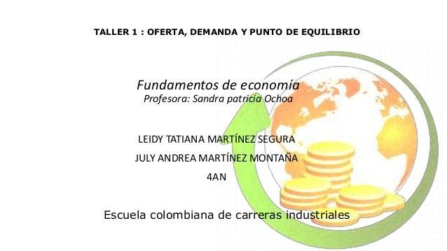 Escuela colombiana de carreras industriales Fundamentos de economía Profesora: Sandra patricia Ochoa LEIDY TATIANA MARTÍNE...