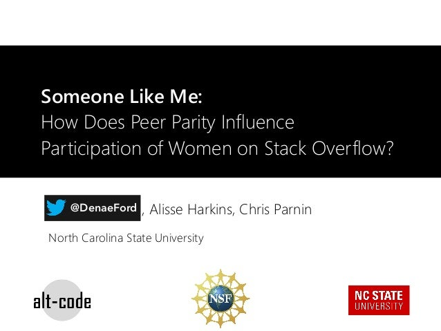 Someone Like Me: How Does Peer Parity Influence Participation of Women on Stack Overflow? Denae Ford, Alisse Harkins, Chri...