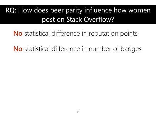 RQ: How does peer parity influence how women post on Stack Overflow? No statistical difference in reputation points No sta...