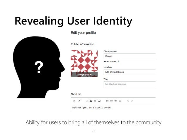 Revealing User Identity Ability for users to bring all of themselves to the community 21 ?
