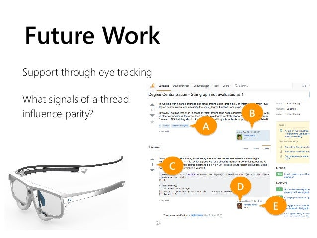 Future Work Support through eye tracking What signals of a thread influence parity? 24