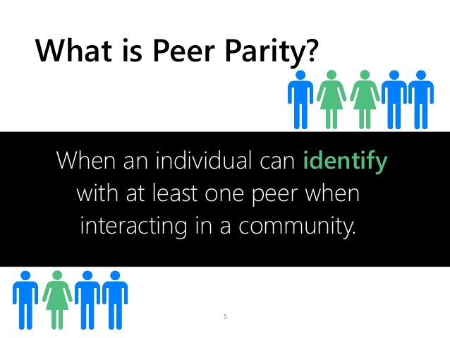 What is Peer Parity? 5 When an individual can identify with at least one peer when interacting in a community.