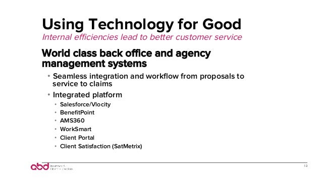 Using Technology for Good Internal efficiencies lead to better customer service World class back office and agency management ...