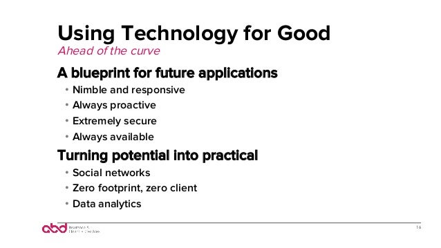 Using Technology for Good Ahead of the curve A blueprint for future applications • Nimble and responsive • Always proact...
