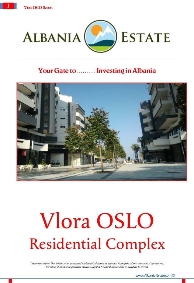 1   Vlora OSLO Resort             Your Gate to……… Investing in Albania              Vlora OSLO      Residential Complex   ...