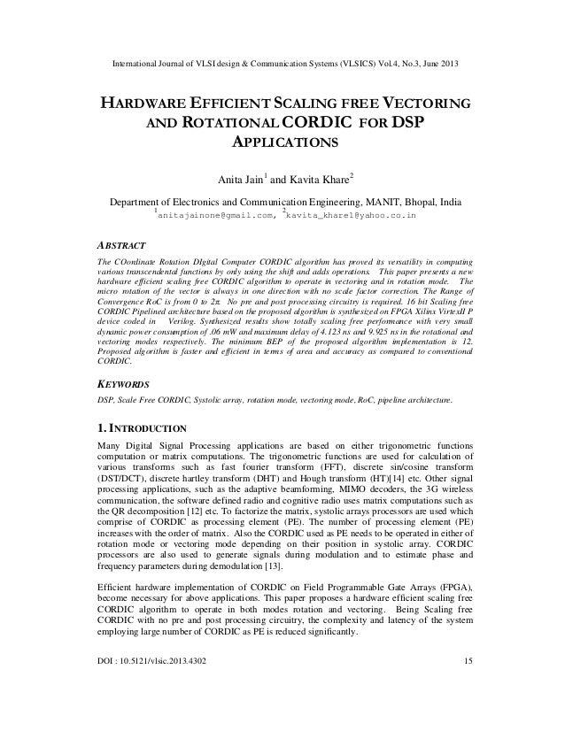 International Journal of VLSI design & Communication Systems (VLSICS) Vol.4, No.3, June 2013 DOI : 10.5121/vlsic.2013.4302...