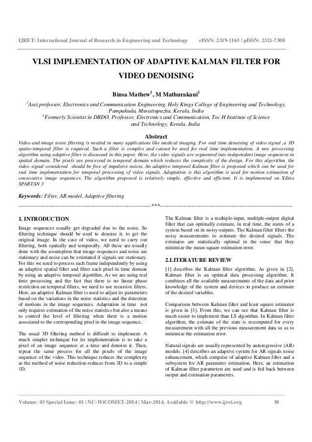 Vlsi implementation of adaptive kalman filter for