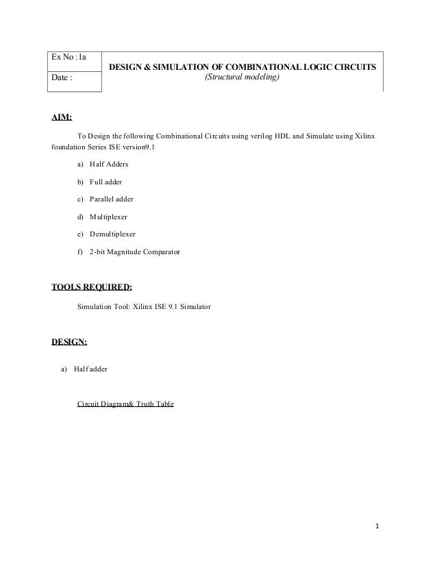 Ex No :1aDESIGN & SIMULATION OF COMBINATIONAL LOGIC CIRCUITS(Structural modeling)Date :AIM:To Design the following Combina...