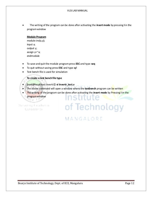 VLSI LAB MANUAL Bearys Institute of Technology, Dept. of ECE, Mangaluru Page 12  The writing of the program can be done a...