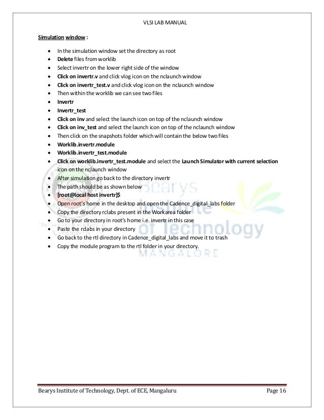 VLSI LAB MANUAL Bearys Institute of Technology, Dept. of ECE, Mangaluru Page 16 Simulation window :  In the simulation wi...
