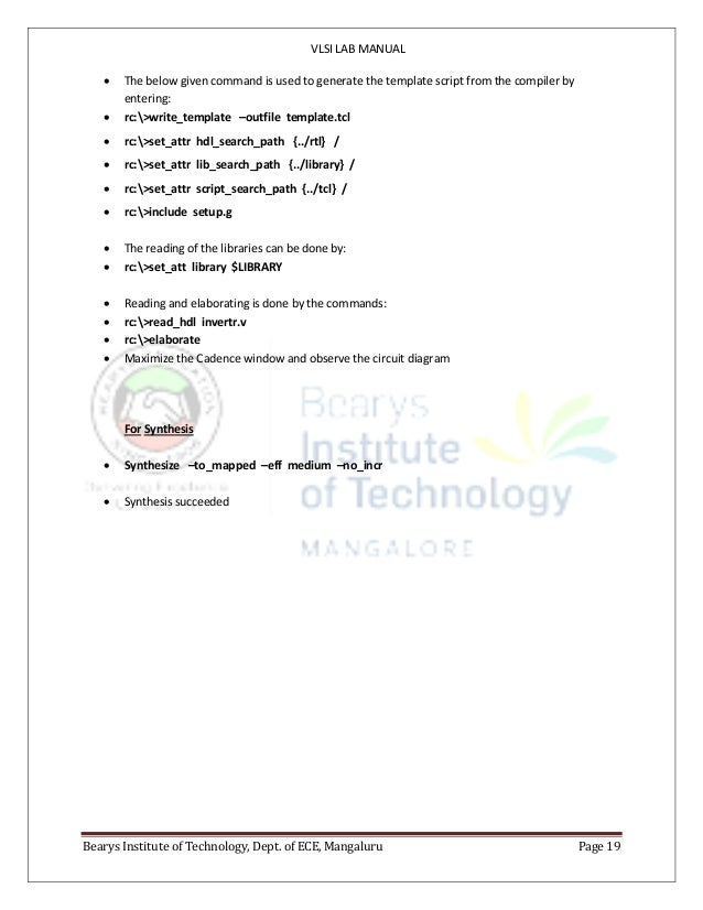 VLSI LAB MANUAL Bearys Institute of Technology, Dept. of ECE, Mangaluru Page 19  The below given command is used to gener...
