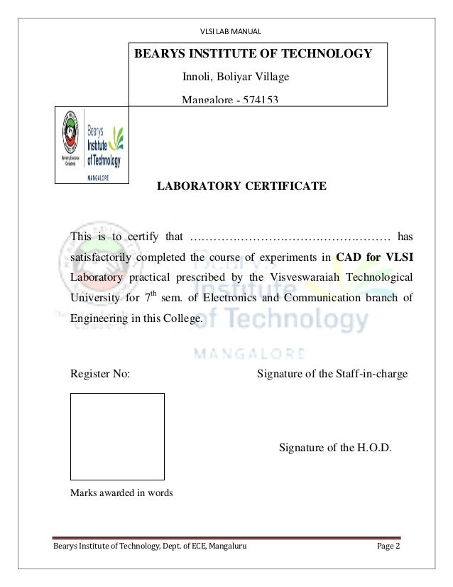 VLSI LAB MANUAL Bearys Institute of Technology, Dept. of ECE, Mangaluru Page 2 P.A. COLLEGE OF ENGINEERING (Affiliated to ...