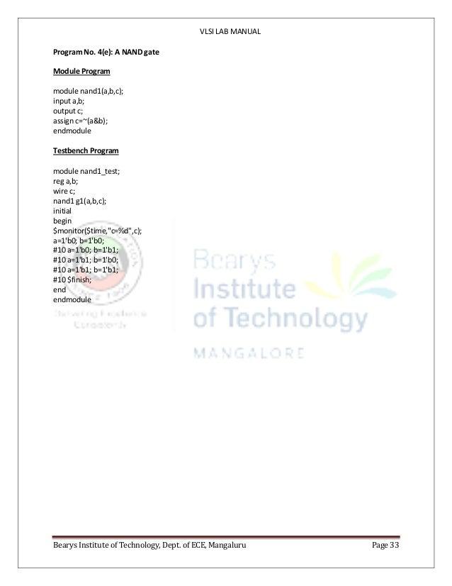 VTU ECE 7th sem VLSI lab manual