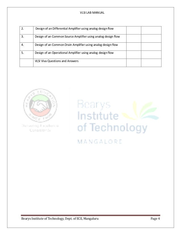 VLSI LAB MANUAL Bearys Institute of Technology, Dept. of ECE, Mangaluru Page 4 2. Design of an Differential Amplifier usin...