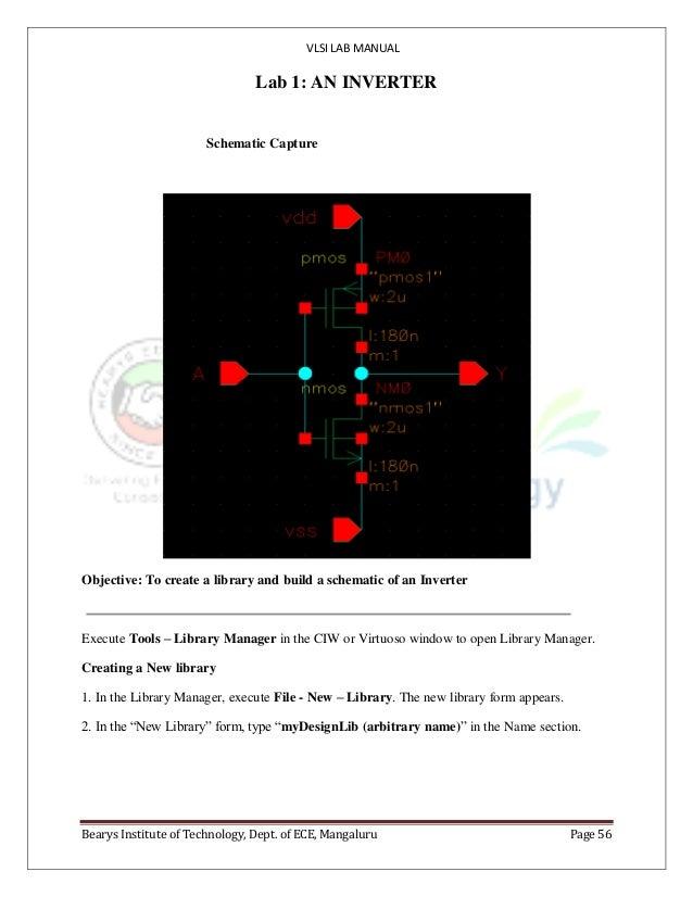 VLSI LAB MANUAL Bearys Institute of Technology, Dept. of ECE, Mangaluru Page 56 Lab 1: AN INVERTER Schematic Capture Objec...