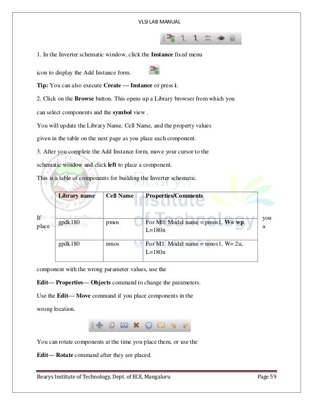 VLSI LAB MANUAL Bearys Institute of Technology, Dept. of ECE, Mangaluru Page 59 1. In the Inverter schematic window, click...