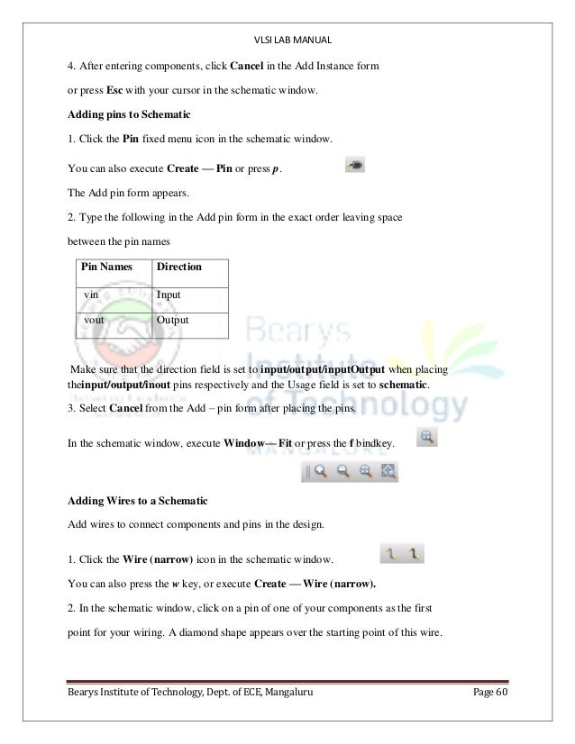 VLSI LAB MANUAL Bearys Institute of Technology, Dept. of ECE, Mangaluru Page 60 4. After entering components, click Cancel...