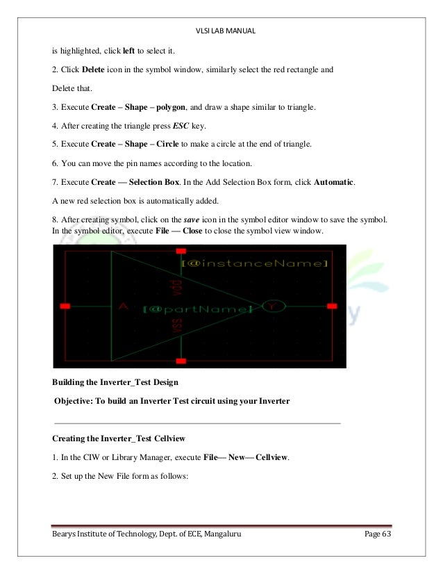 VLSI LAB MANUAL Bearys Institute of Technology, Dept. of ECE, Mangaluru Page 63 is highlighted, click left to select it. 2...