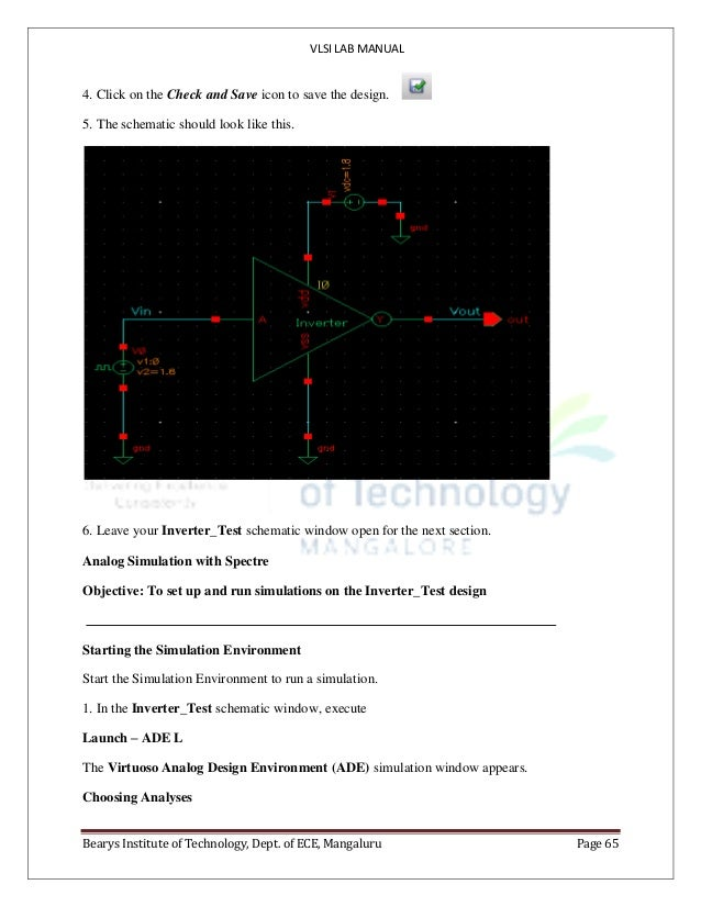 VLSI LAB MANUAL Bearys Institute of Technology, Dept. of ECE, Mangaluru Page 65 4. Click on the Check and Save icon to sav...