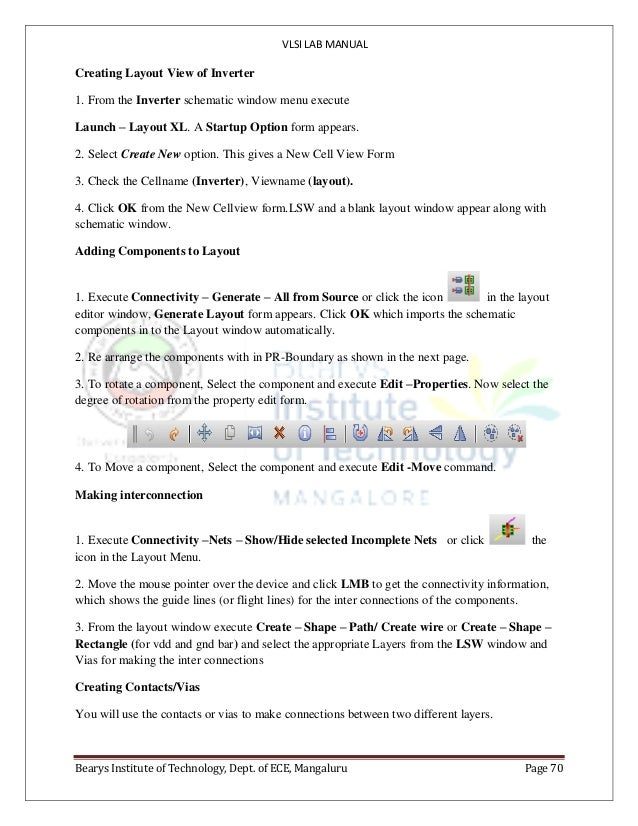 VLSI LAB MANUAL Bearys Institute of Technology, Dept. of ECE, Mangaluru Page 70 Creating Layout View of Inverter 1. From t...