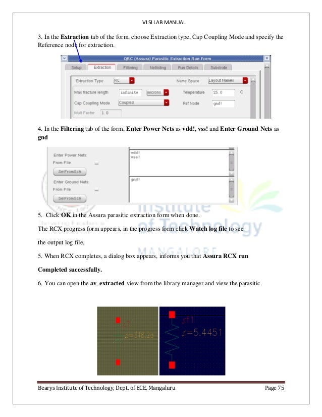 VLSI LAB MANUAL Bearys Institute of Technology, Dept. of ECE, Mangaluru Page 75 3. In the Extraction tab of the form, choo...