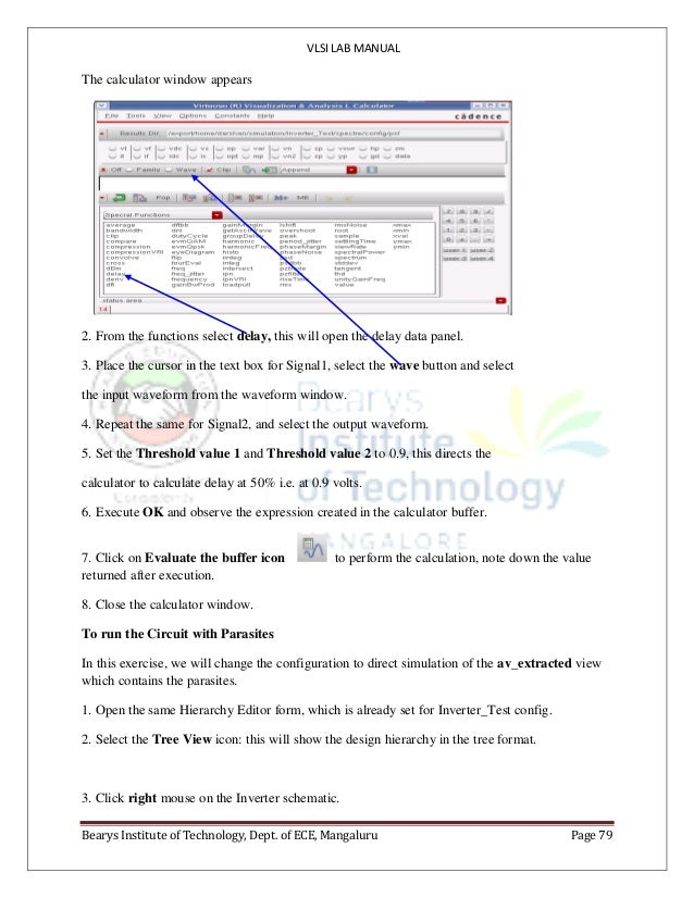 VLSI LAB MANUAL Bearys Institute of Technology, Dept. of ECE, Mangaluru Page 79 The calculator window appears 2. From the ...