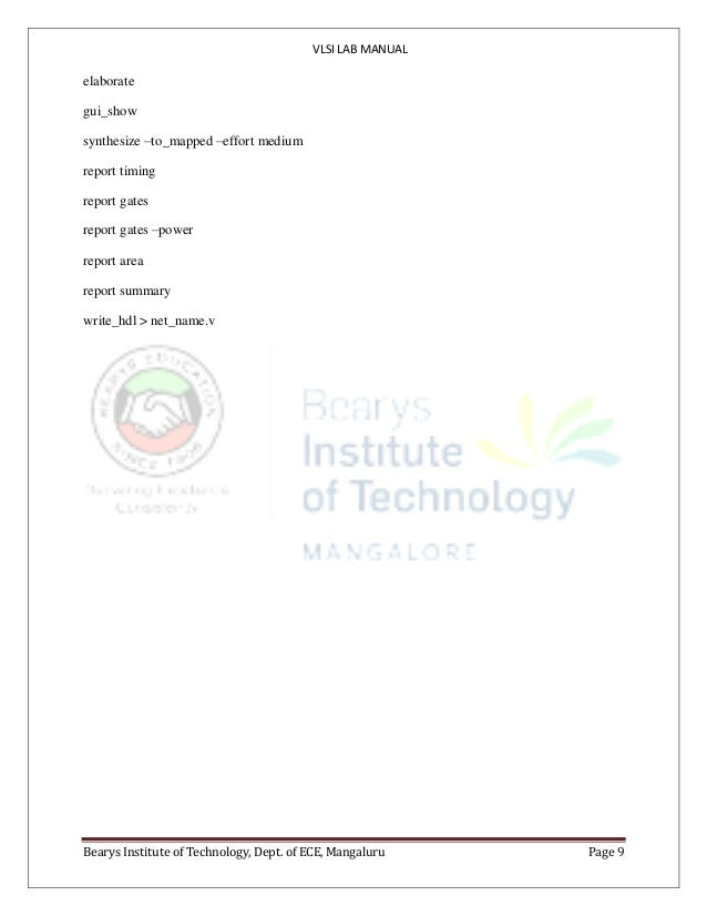 VTU ECE 7th sem VLSI lab manual