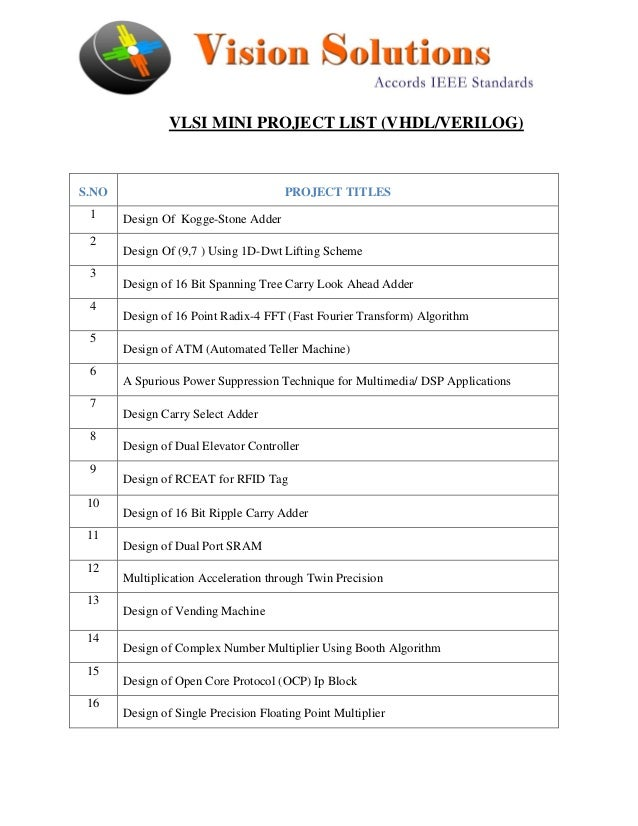 Vlsi mini project list 2013