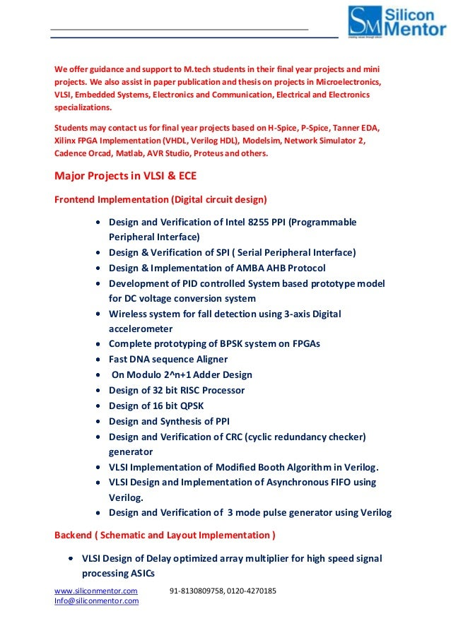 mtech projects in vlsi