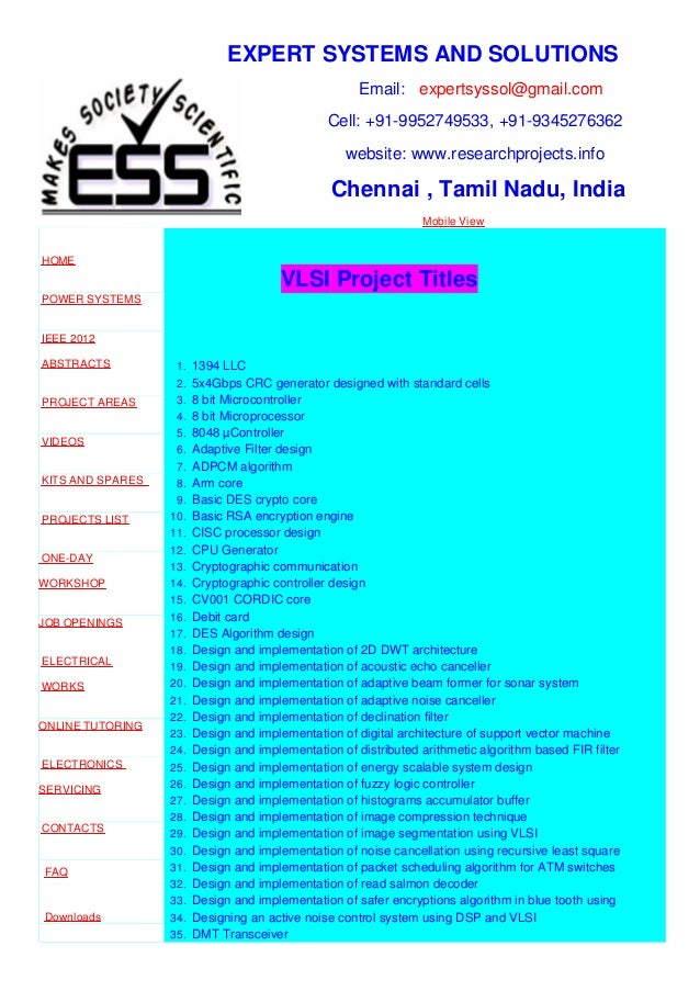 EXPERT SYSTEMS AND SOLUTIONS Email: expertsyssol@gmail.com Cell: +91-9952749533, +91-9345276362 website: www.researchproje...