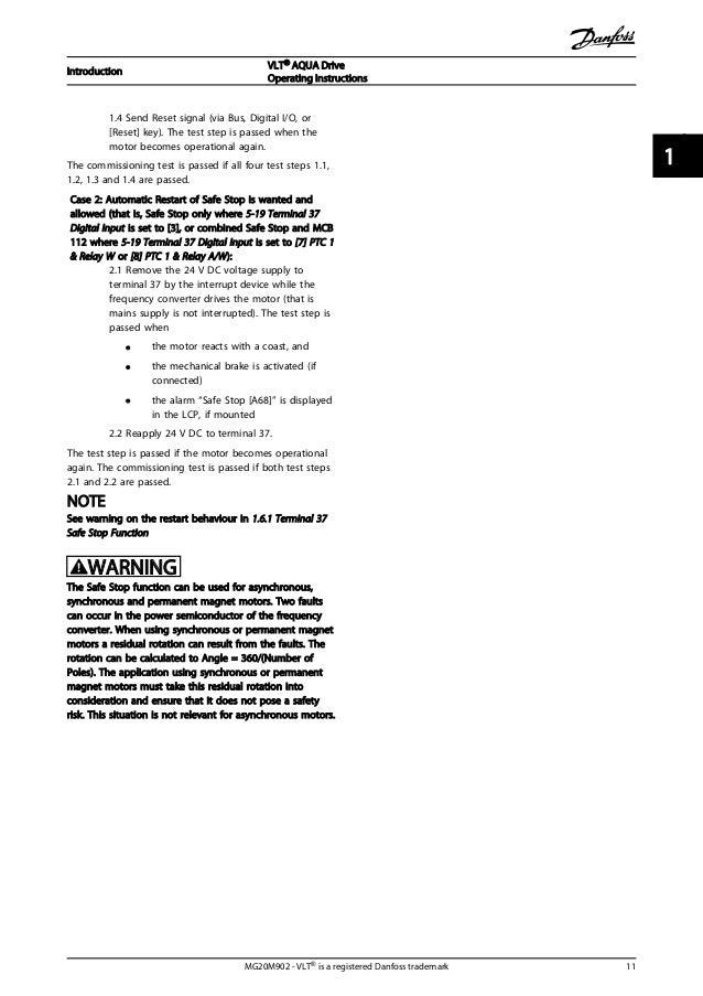 vlt aqua fc 202 introduction vlt® aqua drive operating instructions mg20m902 vlt® is a registered danfoss trademark 11 1 1 15 2 installation