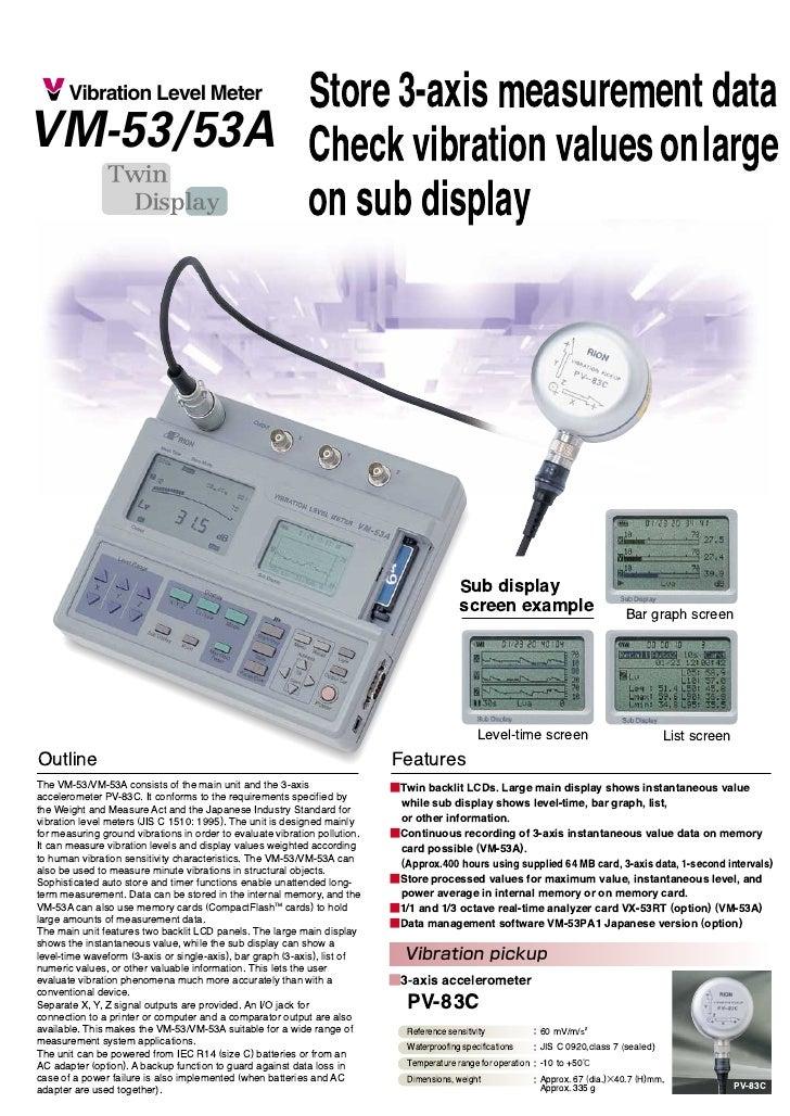 Store 3-axis measurement data VM-53/53A                                                    Check vibration valuesonlarge  ...
