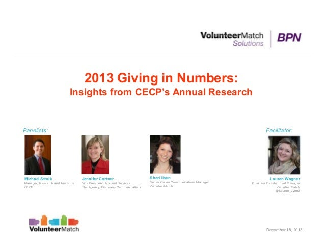 2013 Giving in Numbers: Insights from CECP's Annual Research  Panelists:  Facilitator:  Michael Stroik  Jennifer Cortner  ...
