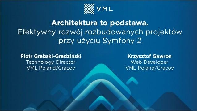 Architektura to podstawa. Efektywny rozwój rozbudowanych projektów przy użyciu Symfony 2 Piotr Grabski-Gradziński Technolo...