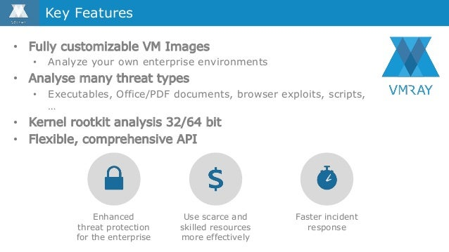 • Fully customizable VM Images • Analyze your own enterprise environments • Analyse many threat types • Executables, Offic...