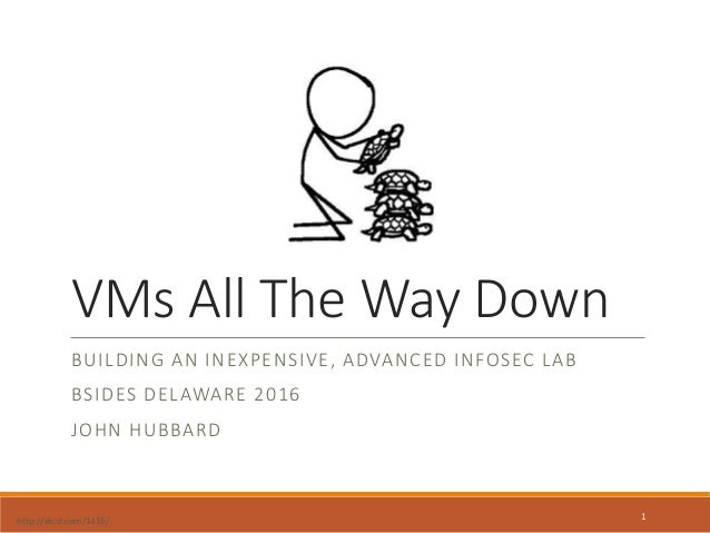 VMs All The Way Down BUILDING AN INEXPENSIVE, ADVANCED INFOSEC LAB BSIDES DELAWARE 2016 JOHN HUBBARD http://xkcd.com/1416/...