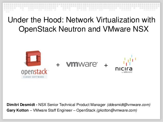 Under the Hood: Network Virtualization with OpenStack Neutron and VMware NSX  +  +  Dimitri Desmidt - NSX Senior Technical...