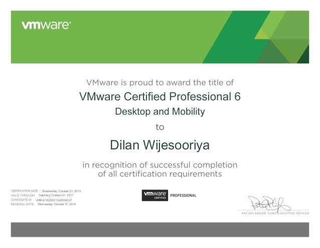 Vmware Certified Professional 6 Desktop And Mobility Certificate