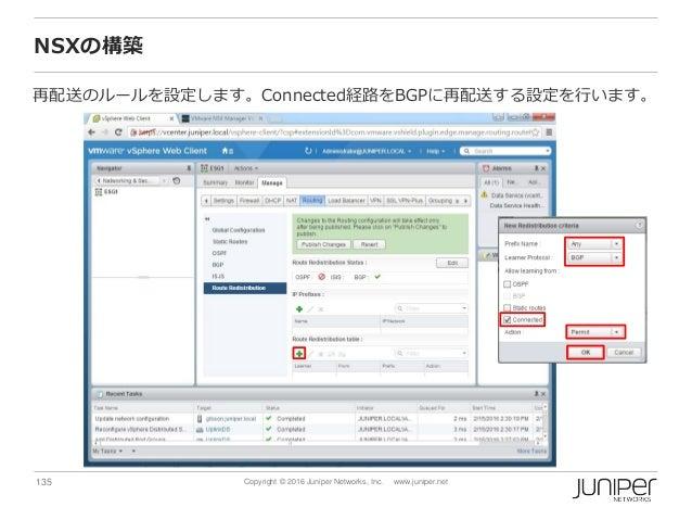 135 Copyright © 2016 Juniper Networks, Inc. www.juniper.net NSXの構築 再配送のルールを設定します。Connected経路をBGPに再配送する設定を行います。