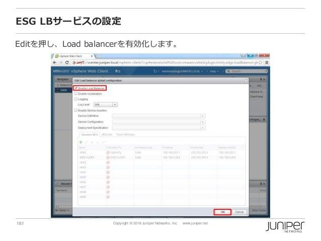 161 Copyright © 2016 Juniper Networks, Inc. www.juniper.net ESG LBサービスの設定 Editを押し、Load balancerを有効化します。